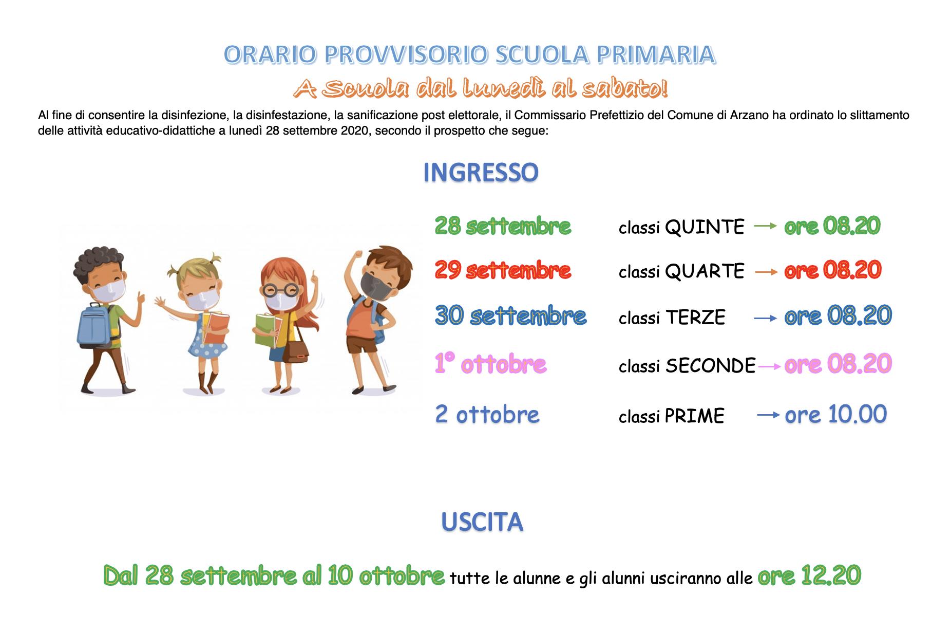 orario provvisorio scuola primaria